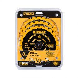 DEWALT 3er Pack EXTREME Kreissägeblatt 190mm DT10399 für Handkreissägen ohne Spaltkeil