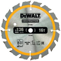 DEWALT Bau-Kreissägeblatt 136mm 16 Z für Akku-Handkreissägen