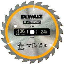 DEWALT Bau-Kreissägeblatt 136mm 24 Z für Akku-Handkreissägen