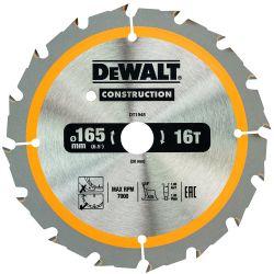 DEWALT Bau-Kreissägeblatt 165mm 16 Z für Akku-Handkreissägen